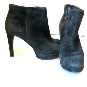 Rockport Blue Black suede platform booties